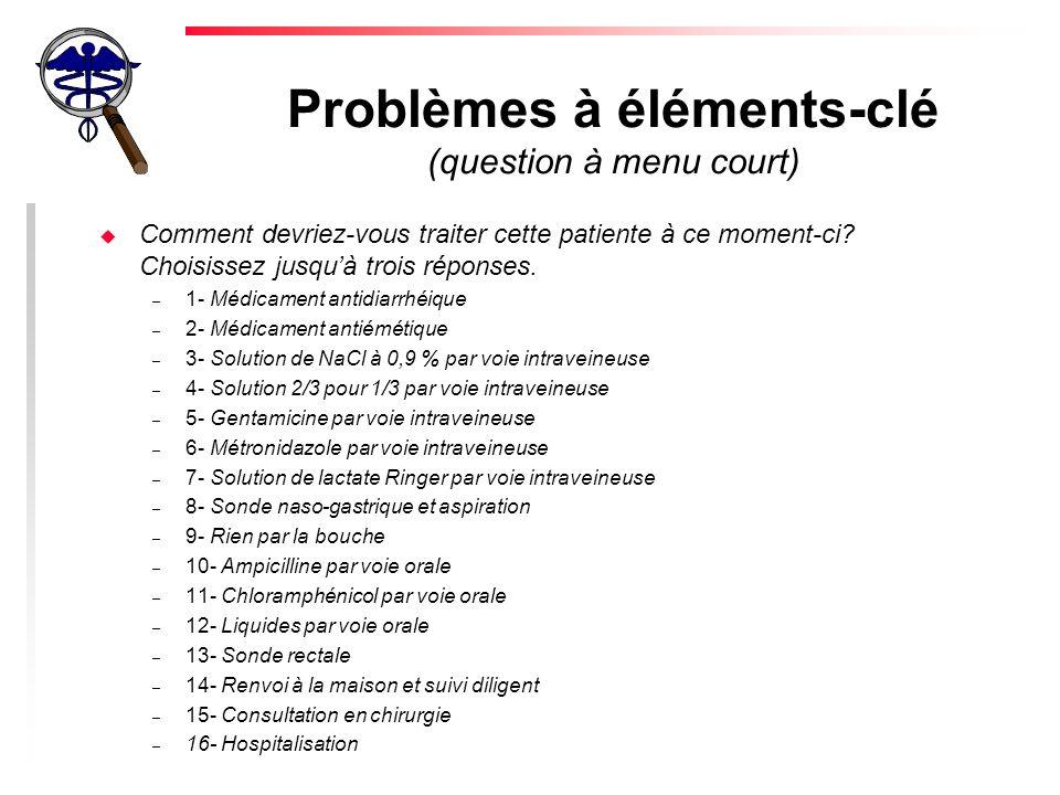 Problèmes à éléments-clé (question à menu court) u Comment devriez-vous traiter cette patiente à ce moment-ci.