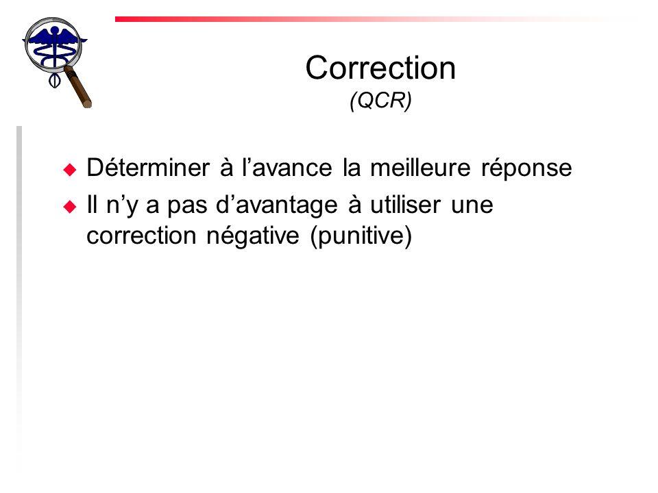 Correction (QCR) u Déterminer à lavance la meilleure réponse u Il ny a pas davantage à utiliser une correction négative (punitive)