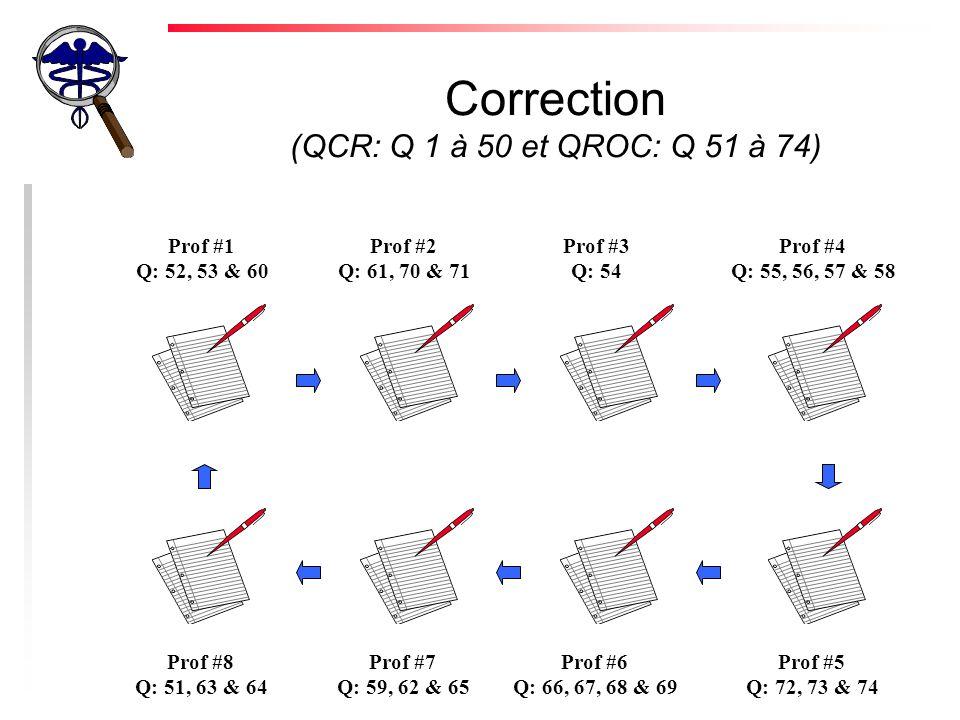 Correction (QCR: Q 1 à 50 et QROC: Q 51 à 74) Prof #1 Q: 52, 53 & 60 Prof #2 Q: 61, 70 & 71 Prof #3 Q: 54 Prof #4 Q: 55, 56, 57 & 58 Prof #8 Q: 51, 63 & 64 Prof #7 Q: 59, 62 & 65 Prof #6 Q: 66, 67, 68 & 69 Prof #5 Q: 72, 73 & 74