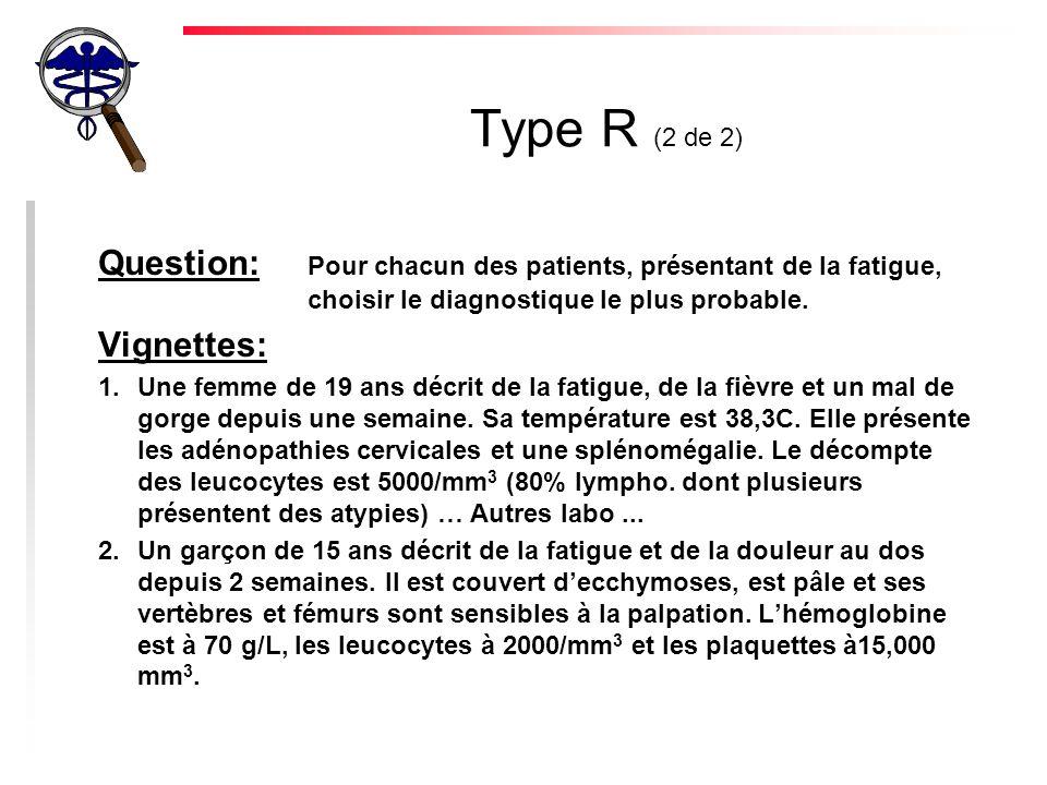 Type R (2 de 2) Question: Pour chacun des patients, présentant de la fatigue, choisir le diagnostique le plus probable.