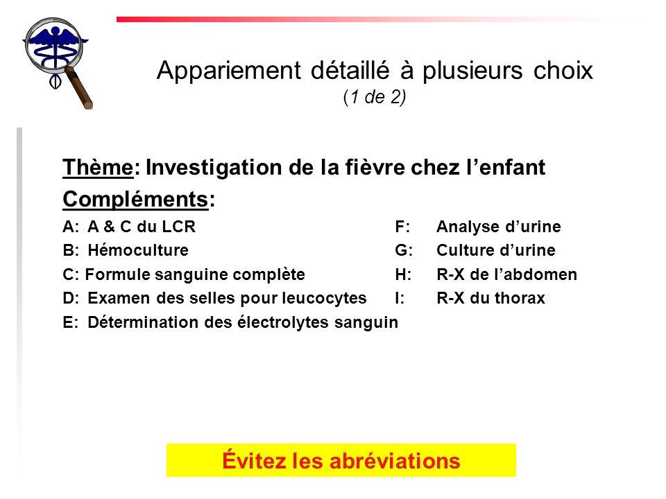 Appariement détaillé à plusieurs choix (1 de 2) Thème:Investigation de la fièvre chez lenfant Compléments: A:A & C du LCRF:Analyse durine B:HémocultureG:Culture durine C: Formule sanguine complèteH:R-X de labdomen D:Examen des selles pour leucocytesI:R-X du thorax E:Détermination des électrolytes sanguin Évitez les abréviations