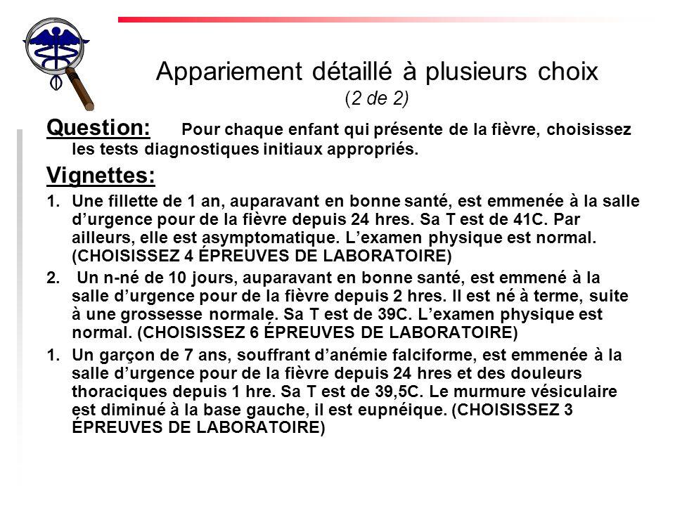 Appariement détaillé à plusieurs choix (2 de 2) Question: Pour chaque enfant qui présente de la fièvre, choisissez les tests diagnostiques initiaux ap