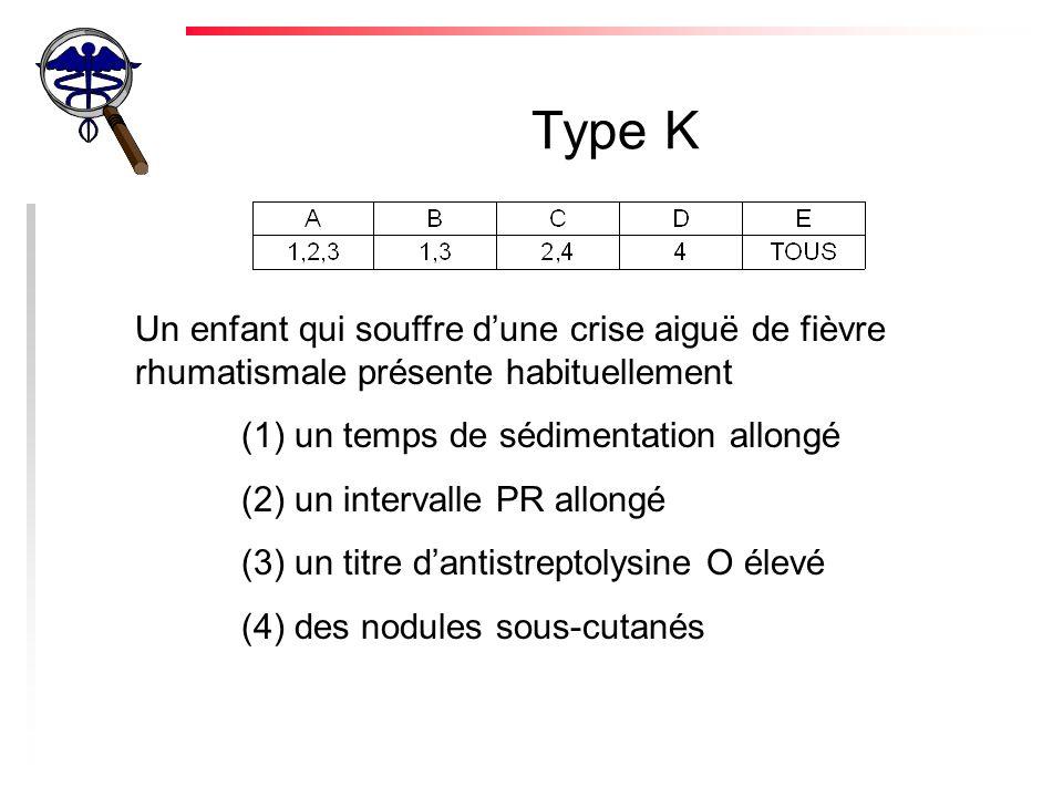 Type K Un enfant qui souffre dune crise aiguë de fièvre rhumatismale présente habituellement (1) un temps de sédimentation allongé (2) un intervalle PR allongé (3) un titre dantistreptolysine O élevé (4) des nodules sous-cutanés