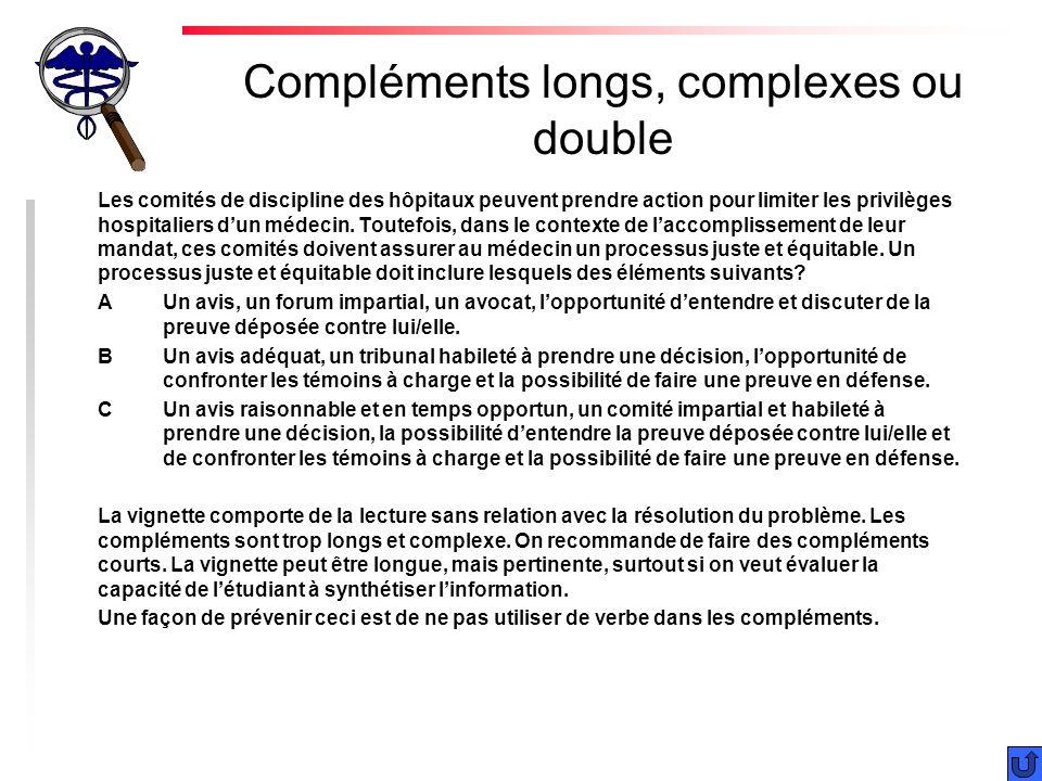 Compléments longs, complexes ou double Les comités de discipline des hôpitaux peuvent prendre action pour limiter les privilèges hospitaliers dun médecin.