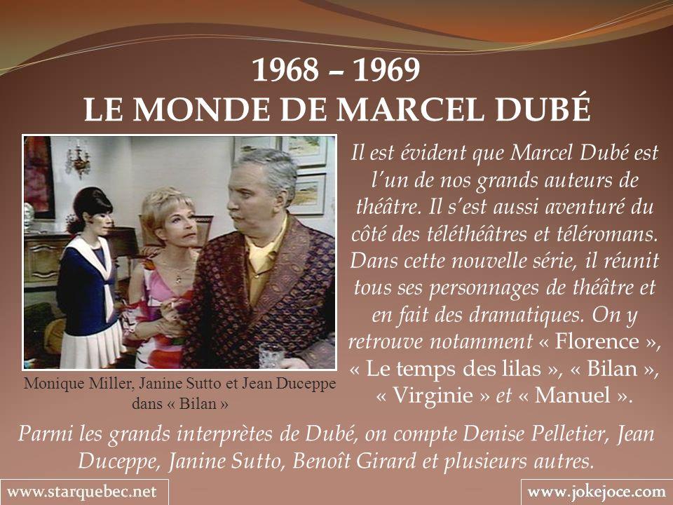 1968 – 1969 LE MONDE DE MARCEL DUBÉ Monique Miller, Janine Sutto et Jean Duceppe dans « Bilan » Il est évident que Marcel Dubé est lun de nos grands a