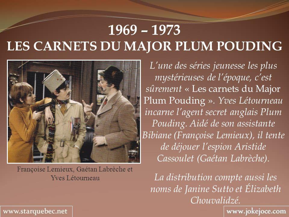1969 – 1973 LES CARNETS DU MAJOR PLUM POUDING Françoise Lemieux, Gaétan Labrèche et Yves Létourneau Lune des séries jeunesse les plus mystérieuses de