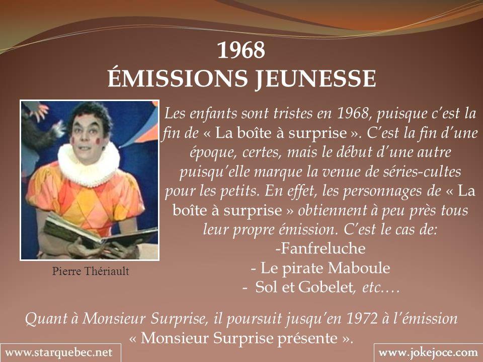 1968 ÉMISSIONS JEUNESSE Pierre Thériault Les enfants sont tristes en 1968, puisque cest la fin de « La boîte à surprise ». Cest la fin dune époque, ce