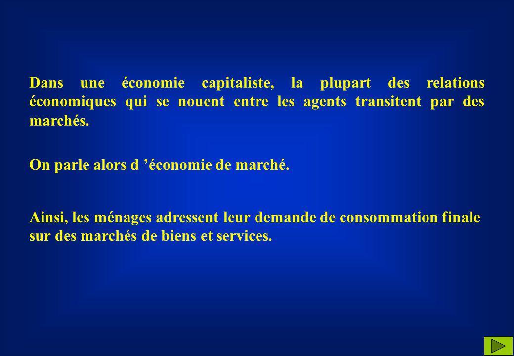 Dans une économie capitaliste, la plupart des relations économiques qui se nouent entre les agents transitent par des marchés.