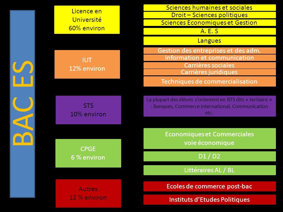 BAC ES Licence en Université 60% environ IUT 12% environ STS 10% environ CPGE 6 % environ Autres 12 % environ Sciences humaines et sociales Droit – Sciences politiques Sciences Economiques et Gestion A.