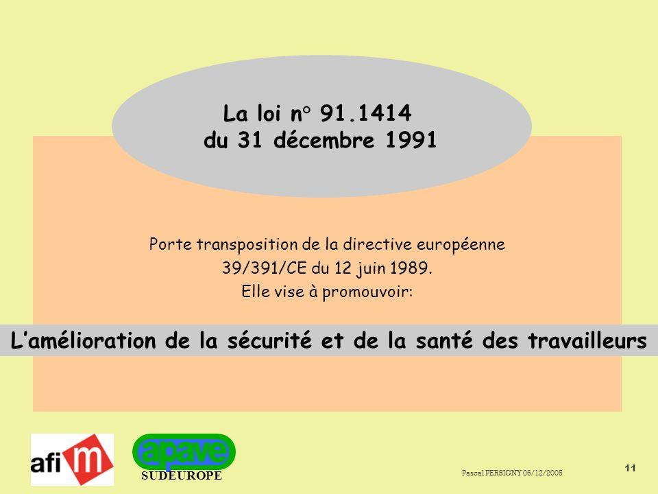 SUDEUROPE Pascal PERSIGNY 06/12/2005 11 Porte transposition de la directive européenne 39/391/CE du 12 juin 1989.
