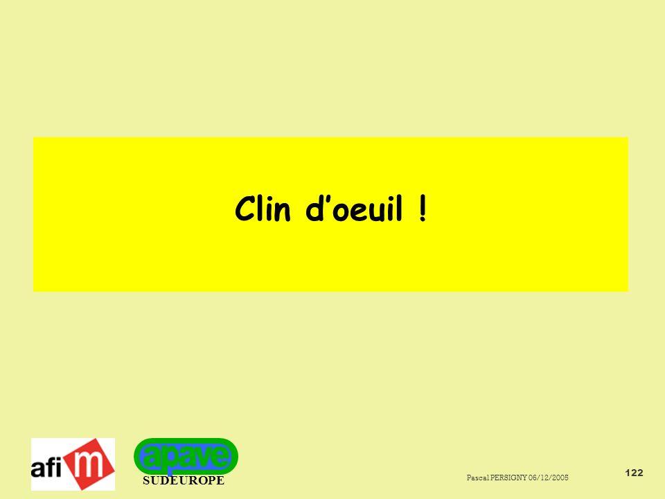 SUDEUROPE Pascal PERSIGNY 06/12/2005 122 Clin doeuil !