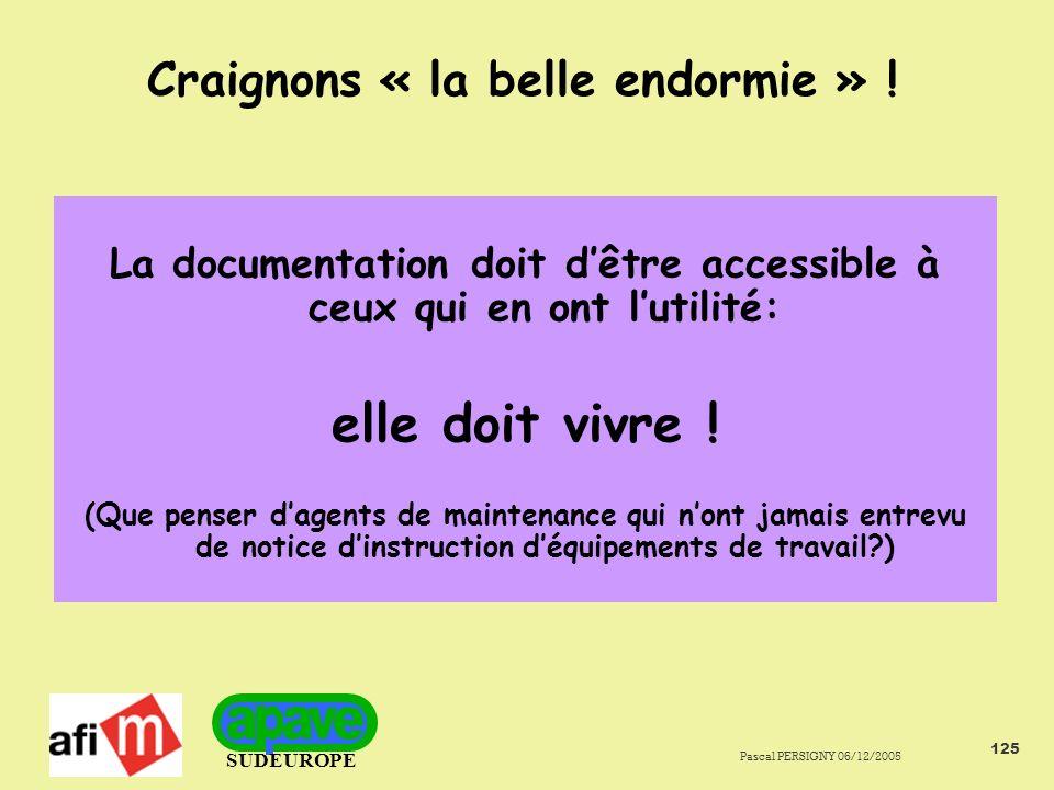 SUDEUROPE Pascal PERSIGNY 06/12/2005 125 Craignons « la belle endormie » .
