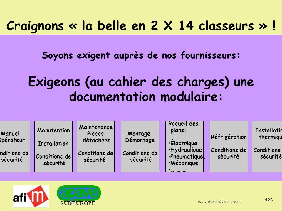 SUDEUROPE Pascal PERSIGNY 06/12/2005 126 Craignons « la belle en 2 X 14 classeurs » .