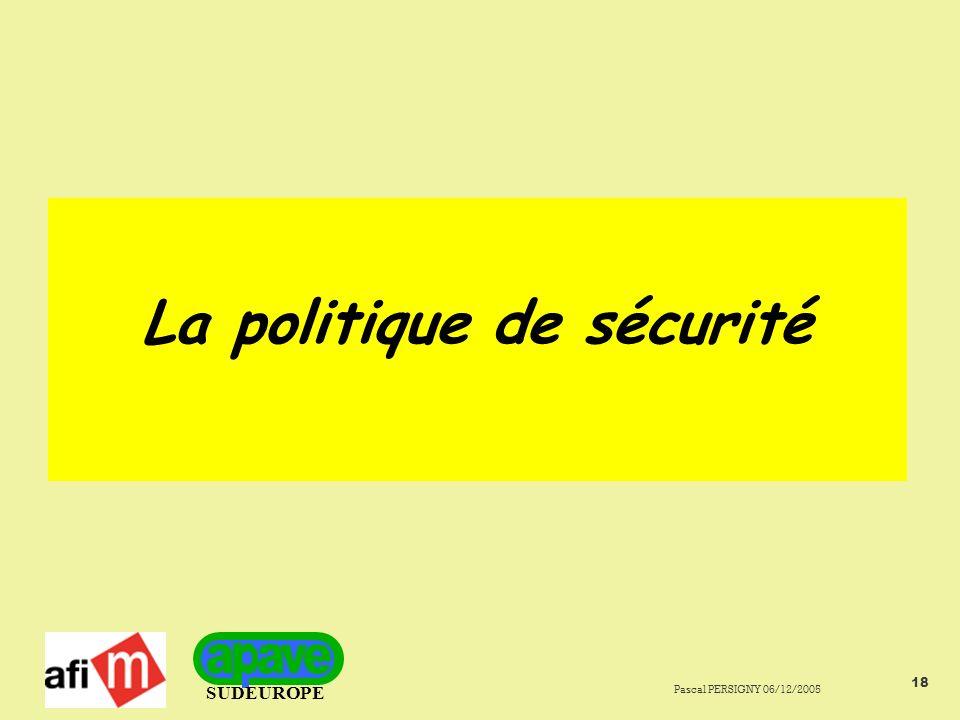 SUDEUROPE Pascal PERSIGNY 06/12/2005 18 La politique de sécurité