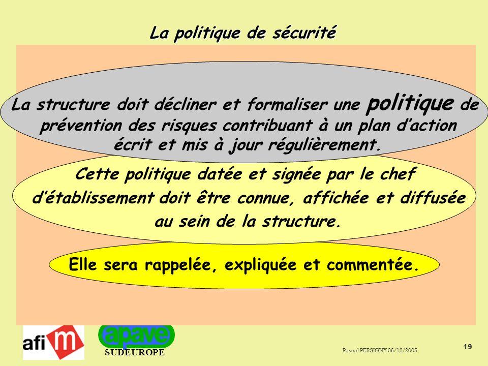 SUDEUROPE Pascal PERSIGNY 06/12/2005 19 La politique de sécurité Elle sera rappelée, expliquée et commentée.