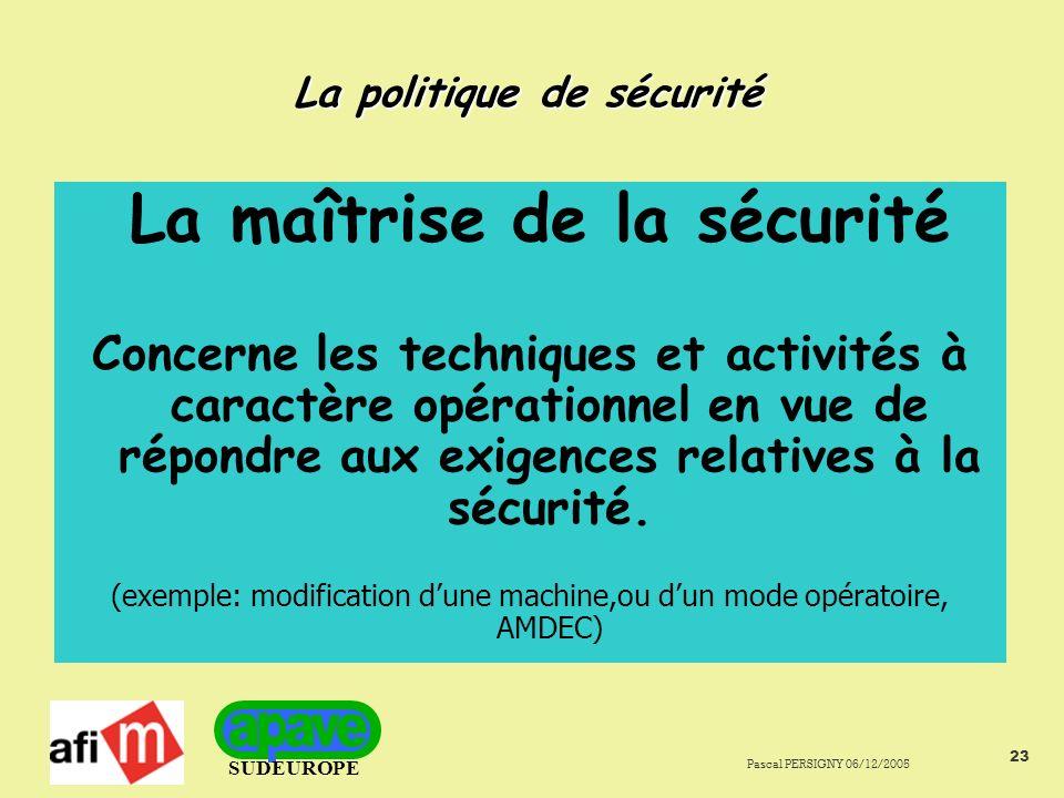 SUDEUROPE Pascal PERSIGNY 06/12/2005 23 La politique de sécurité La maîtrise de la sécurité Concerne les techniques et activités à caractère opérationnel en vue de répondre aux exigences relatives à la sécurité.