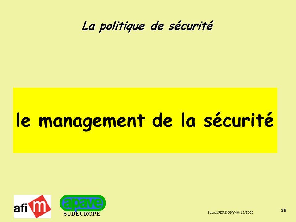 SUDEUROPE Pascal PERSIGNY 06/12/2005 26 La politique de sécurité le management de la sécurité