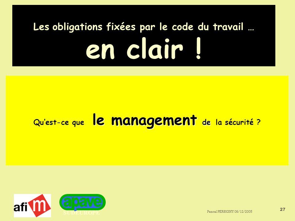 SUDEUROPE Pascal PERSIGNY 06/12/2005 27 Les obligations fixées par le code du travail … en clair .
