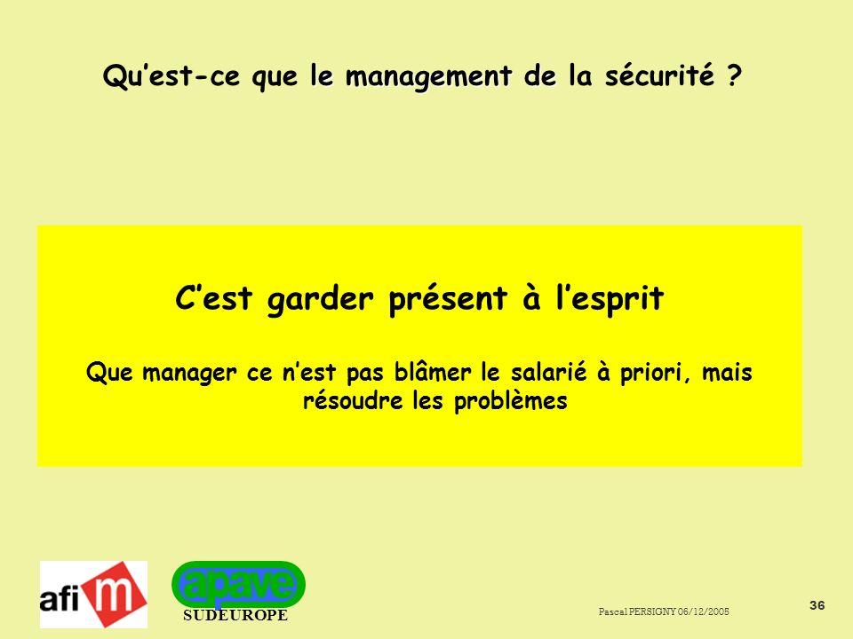 SUDEUROPE Pascal PERSIGNY 06/12/2005 36 le management de Quest-ce que le management de la sécurité .