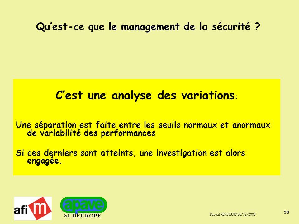 SUDEUROPE Pascal PERSIGNY 06/12/2005 38 le management de Quest-ce que le management de la sécurité .