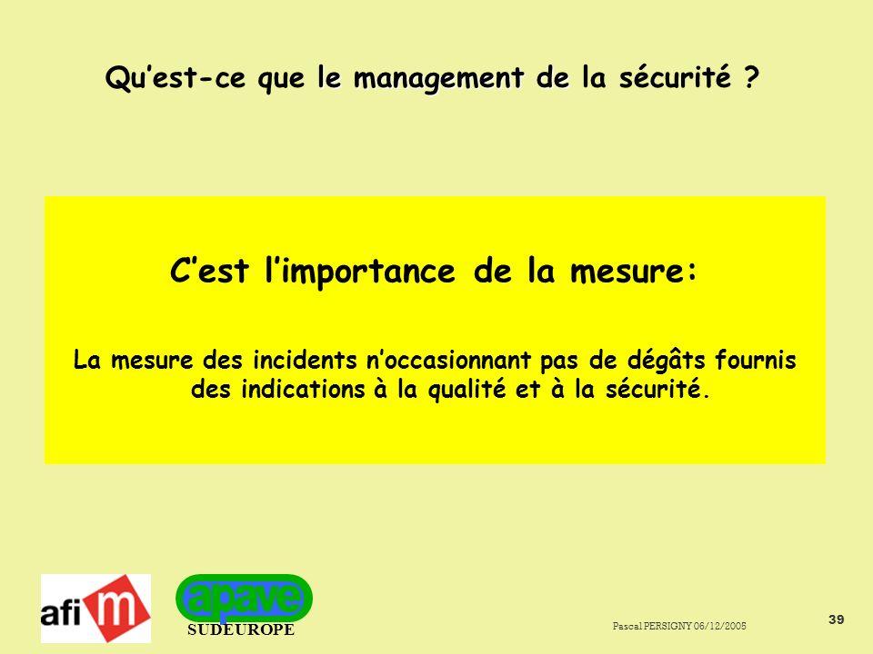 SUDEUROPE Pascal PERSIGNY 06/12/2005 39 le management de Quest-ce que le management de la sécurité .