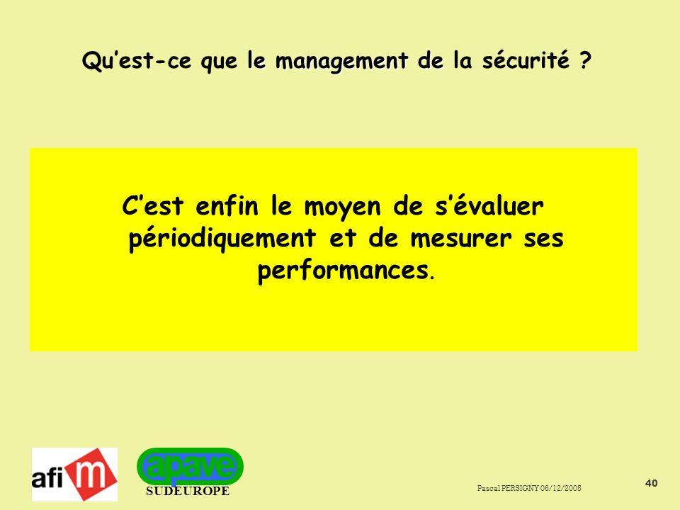 SUDEUROPE Pascal PERSIGNY 06/12/2005 40 le management de Quest-ce que le management de la sécurité .