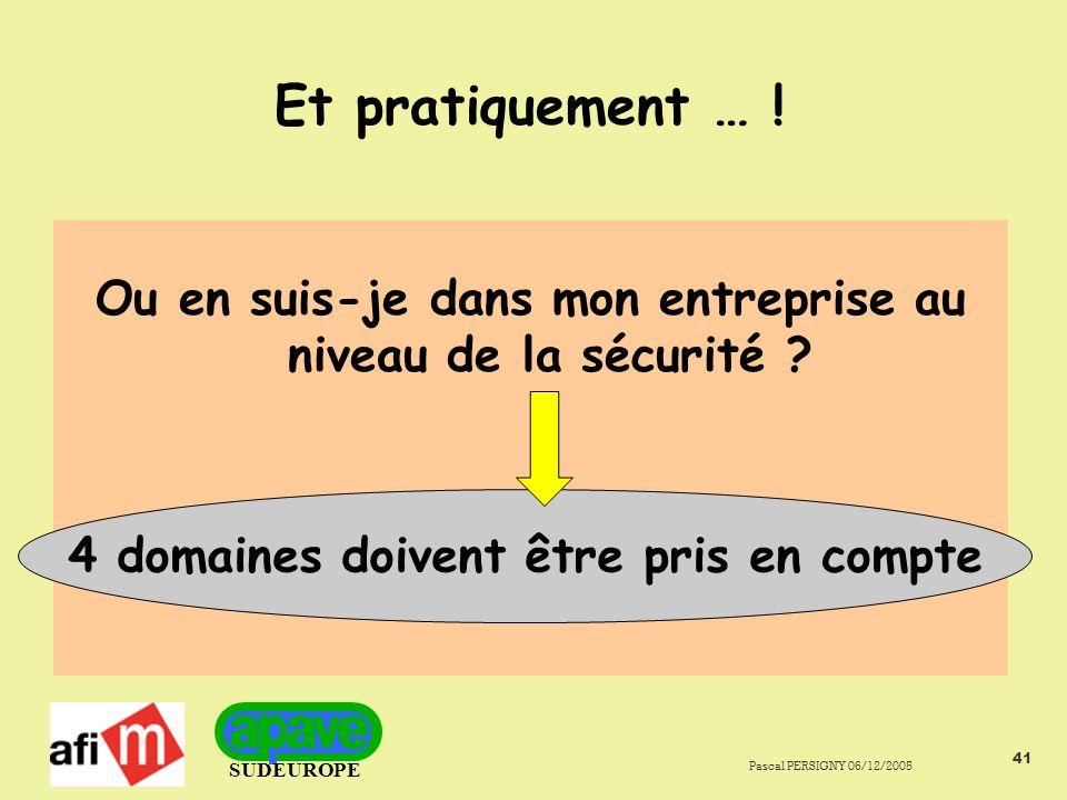 SUDEUROPE Pascal PERSIGNY 06/12/2005 41 Et pratiquement … .