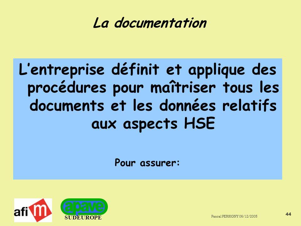 SUDEUROPE Pascal PERSIGNY 06/12/2005 44 La documentation Lentreprise définit et applique des procédures pour maîtriser tous les documents et les données relatifs aux aspects HSE Pour assurer: