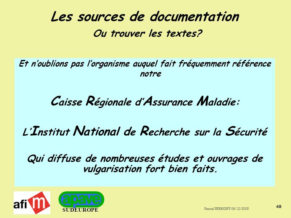 SUDEUROPE Pascal PERSIGNY 06/12/2005 48 Les sources de documentation Ou trouver les textes.