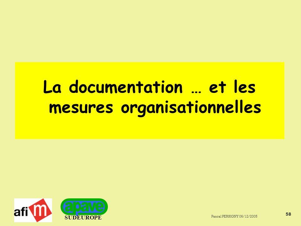 SUDEUROPE Pascal PERSIGNY 06/12/2005 58 La documentation … et les mesures organisationnelles