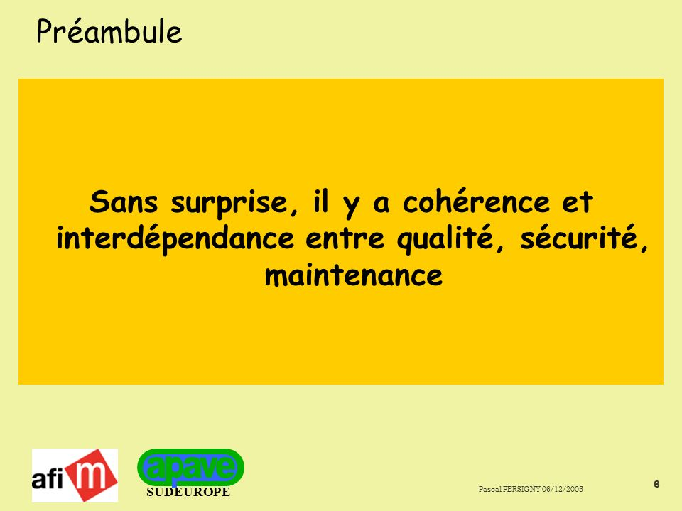SUDEUROPE Pascal PERSIGNY 06/12/2005 6 Préambule Sans surprise, il y a cohérence et interdépendance entre qualité, sécurité, maintenance