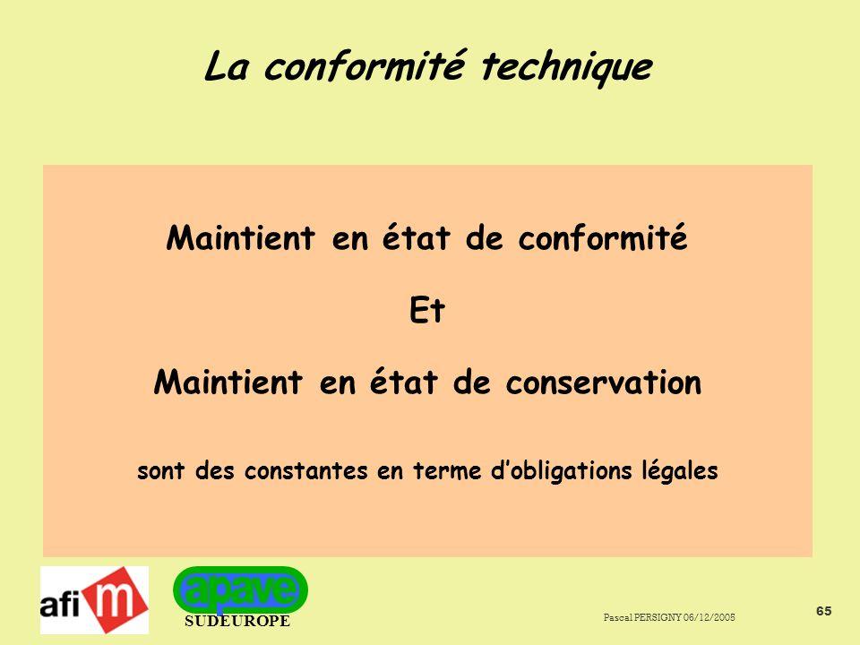 SUDEUROPE Pascal PERSIGNY 06/12/2005 65 La conformité technique Maintient en état de conformité Et Maintient en état de conservation sont des constantes en terme dobligations légales