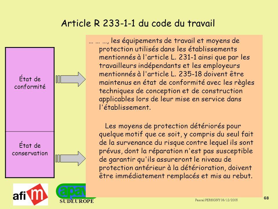 SUDEUROPE Pascal PERSIGNY 06/12/2005 68 Article R 233-1-1 du code du travail … … …, les équipements de travail et moyens de protection utilisés dans les établissements mentionnés à l article L.