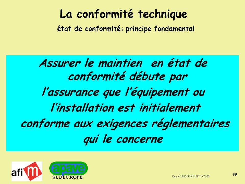 SUDEUROPE Pascal PERSIGNY 06/12/2005 69 La conformité technique état de conformité: principe fondamental Assurer le maintien en état de conformité débute par lassurance que léquipement ou linstallation est initialement conforme aux exigences réglementaires qui le concerne