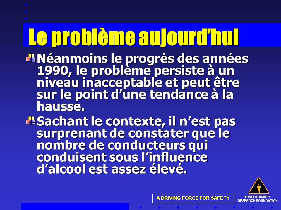 TRAFFIC INJURY RESEARCH FOUNDATION A DRIVING FORCE FOR SAFETY Le problème aujourdhui Néanmoins le progrès des années 1990, le problème persiste à un n