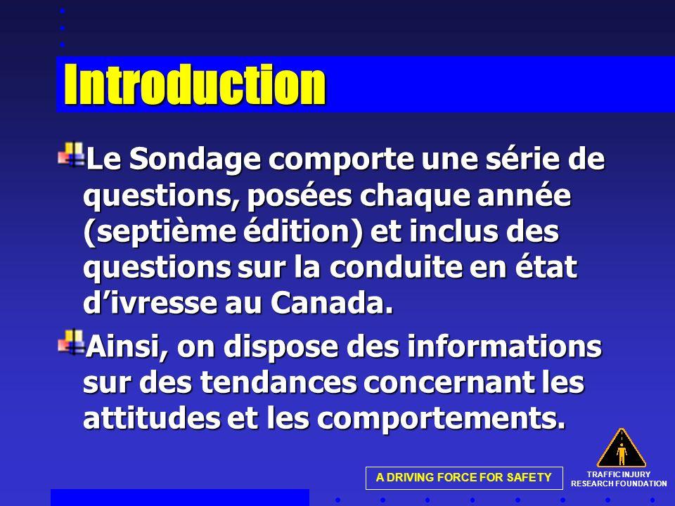 TRAFFIC INJURY RESEARCH FOUNDATION A DRIVING FORCE FOR SAFETY Introduction Le Sondage comporte une série de questions, posées chaque année (septième édition) et inclus des questions sur la conduite en état divresse au Canada.