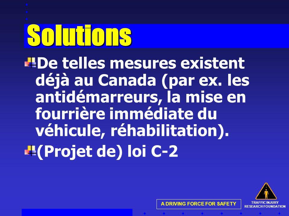 TRAFFIC INJURY RESEARCH FOUNDATION A DRIVING FORCE FOR SAFETY Solutions De telles mesures existent déjà au Canada (par ex. les antidémarreurs, la mise