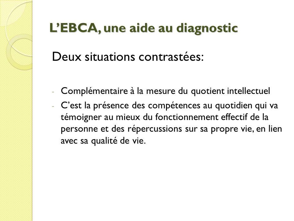 LEBCA, une aide au diagnostic Deux situations contrastées: - Complémentaire à la mesure du quotient intellectuel - Cest la présence des compétences au quotidien qui va témoigner au mieux du fonctionnement effectif de la personne et des répercussions sur sa propre vie, en lien avec sa qualité de vie.