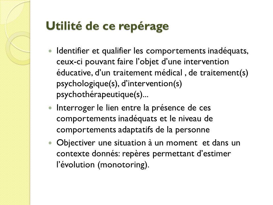 Utilité de ce repérage Identifier et qualifier les comportements inadéquats, ceux-ci pouvant faire lobjet dune intervention éducative, dun traitement médical, de traitement(s) psychologique(s), dintervention(s) psychothérapeutique(s)...