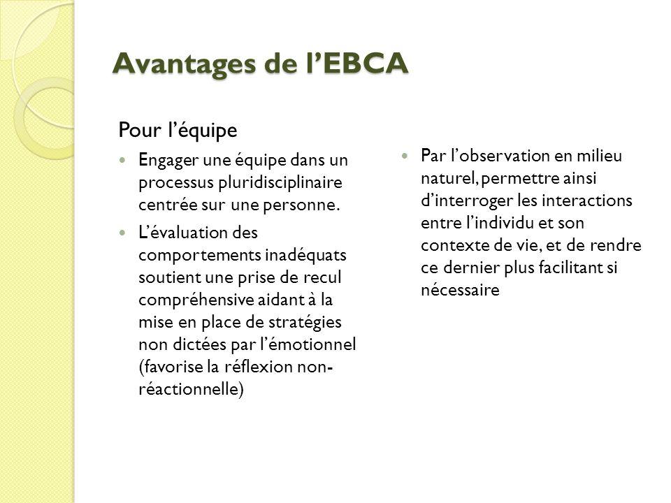Avantages de lEBCA Pour léquipe Engager une équipe dans un processus pluridisciplinaire centrée sur une personne.
