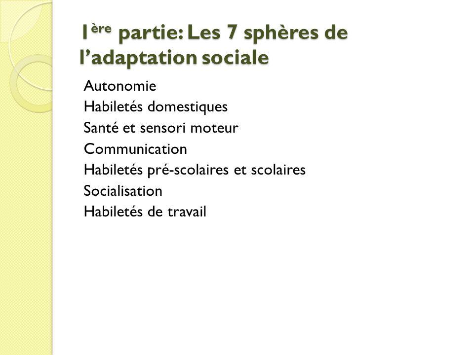 1 ère partie: Les 7 sphères de ladaptation sociale Autonomie Habiletés domestiques Santé et sensori moteur Communication Habiletés pré-scolaires et scolaires Socialisation Habiletés de travail