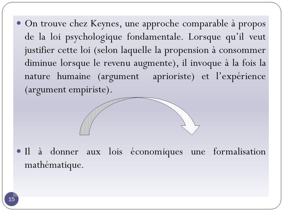 15 On trouve chez Keynes, une approche comparable à propos de la loi psychologique fondamentale.