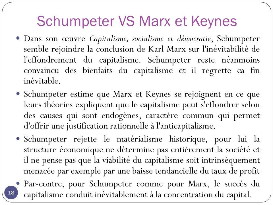 Schumpeter VS Marx et Keynes 18 Dans son œuvre Capitalisme, socialisme et démocratie, Schumpeter semble rejoindre la conclusion de Karl Marx sur l inévitabilité de l effondrement du capitalisme.