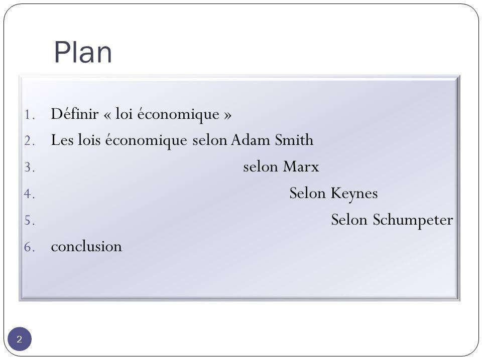 Plan 2 1. Définir « loi économique » 2. Les lois économique selon Adam Smith 3.