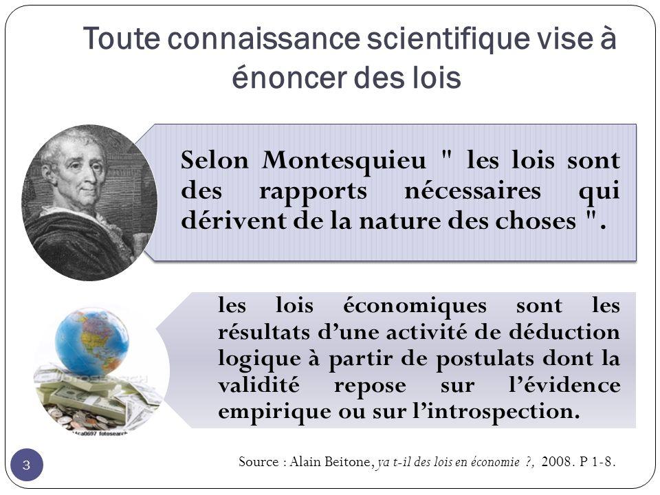 Toute connaissance scientifique vise à énoncer des lois 3 Selon Montesquieu les lois sont des rapports nécessaires qui dérivent de la nature des choses .