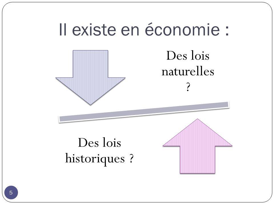 Il existe en économie : 5 Des lois naturelles Des lois historiques