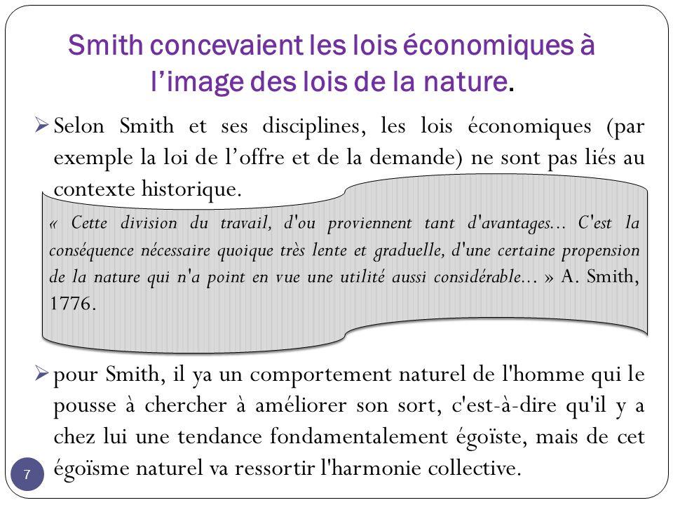 8 Pour Smith il, existe des lois naturelles régissant l économie, la société et l univers (la main invisible), lois auxquelles on ne peut ni ne on ne doit s opposer : c est ce qui justifie le libéralisme (laisser-faire, laisser-passer) Chez Smith, l économie de marché et le capitalisme sont donc naturels Source :http://books.google.com/books