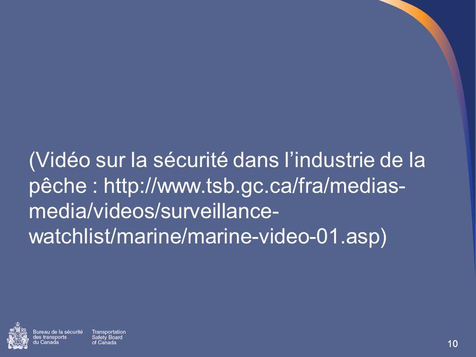 (Vidéo sur la sécurité dans lindustrie de la pêche : http://www.tsb.gc.ca/fra/medias- media/videos/surveillance- watchlist/marine/marine-video-01.asp) 10