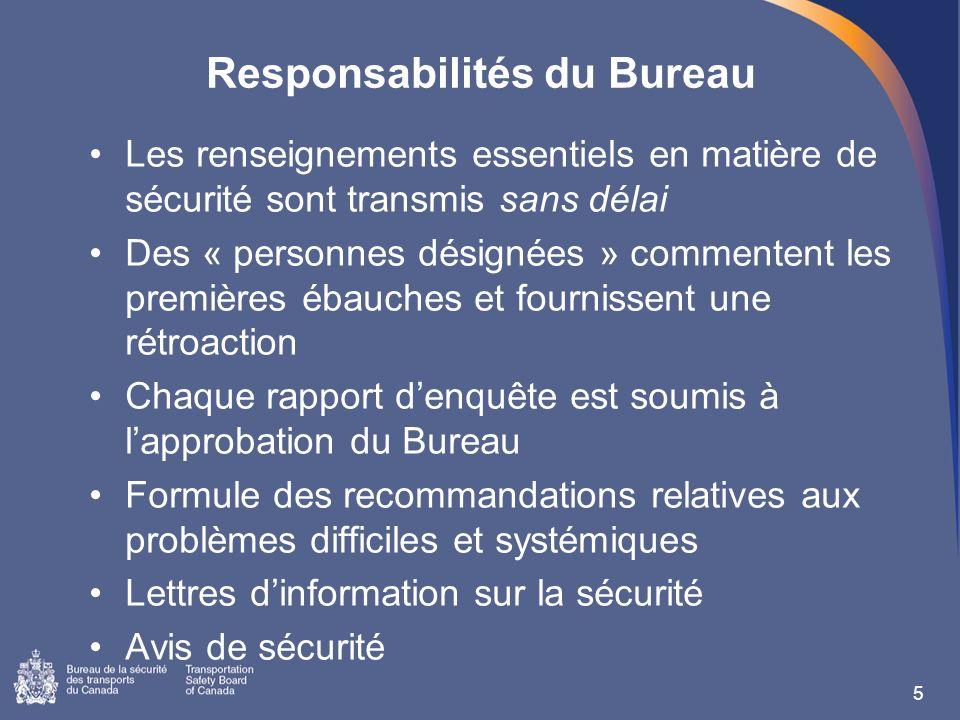 Responsabilités du Bureau Les renseignements essentiels en matière de sécurité sont transmis sans délai Des « personnes désignées » commentent les pre