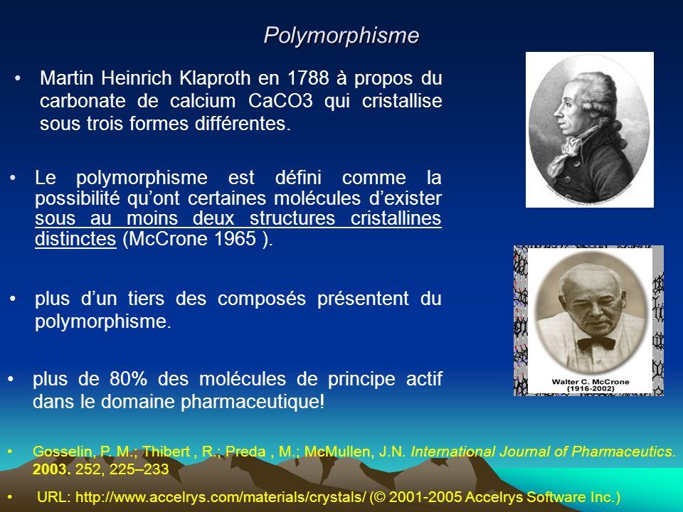 Polymorphisme URL: http://www.accelrys.com/materials/crystals/ (© 2001-2005 Accelrys Software Inc.) Le polymorphisme est défini comme la possibilité q
